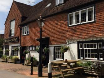 Image Rose & Crown Pub Hanging baskets