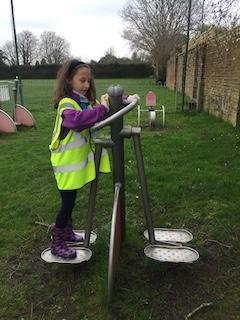 Image child cleaning playground equipment