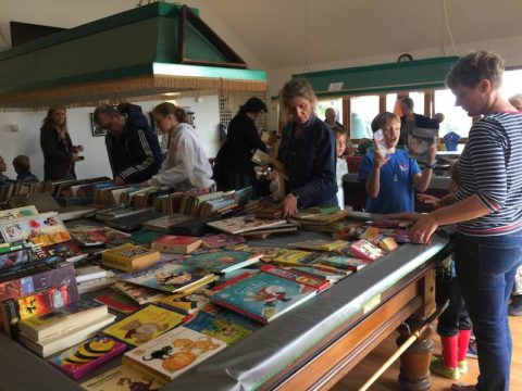 Image people at book stall
